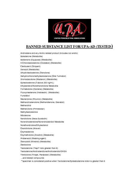 UPA-AD Banned Substance List