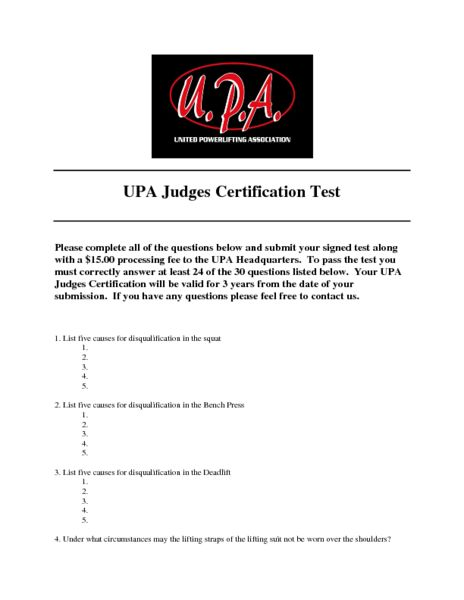 Official Judges Certification Test