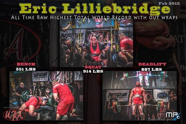 Eric Lilliebridge All-Time World Record Raw Total (without wraps)